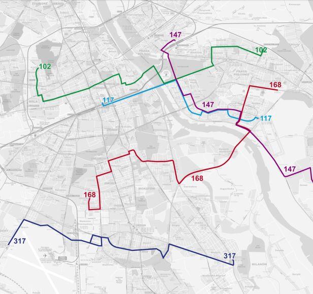 Trasy niektórych linii ZTM