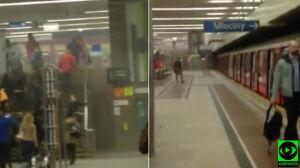 """""""Proszę natychmiast opuścić peron"""". Dym i alarm w metrze. Nagranie"""