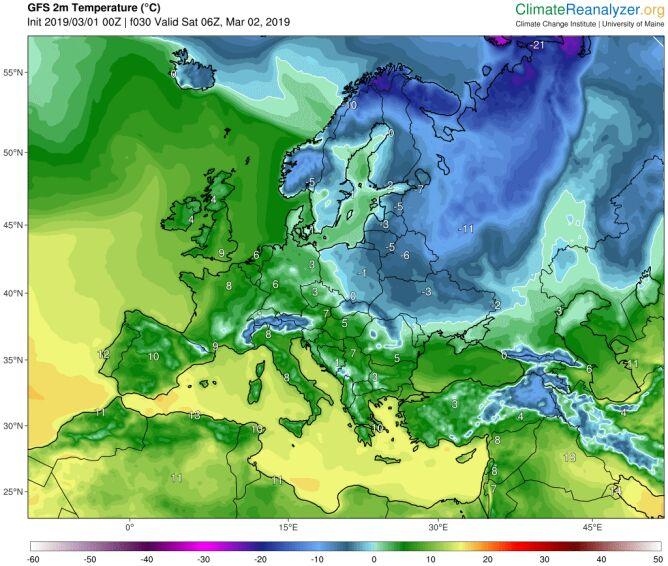 Prognozowana temperatura na sobotni poranek (model GFS/ University of Maine)