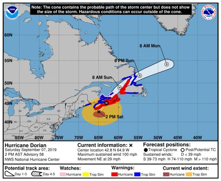 Prognozowana prędkość wiatru huraganu Dorian (stan na godzinę 20 w sobotę) (NHC)