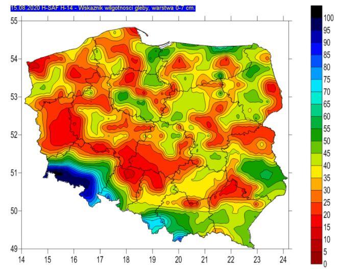 Wskaźnik wilgotności gleby 15 sierpnia, warstwa 0-7 centymetrów (IMGW)