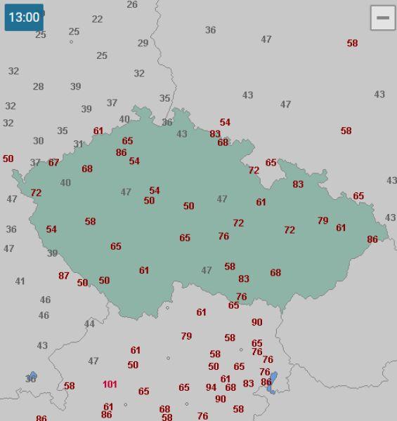 Porywy wiatru w środę o godzinie 13 (wetteronline.de)