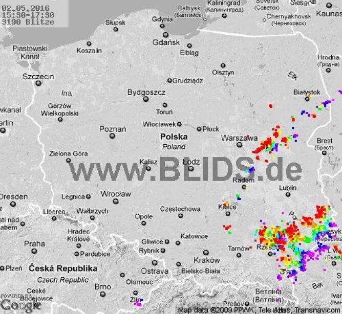 Burze nad Polską, godz. 15:30-17:30
